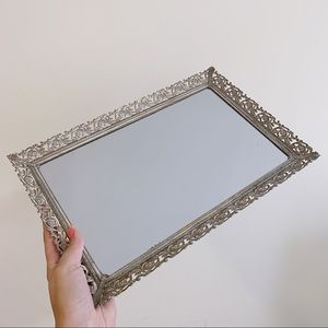 Other - Vintage Mirror Tray Metalic Trim Vanity Tray